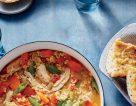 سوپ غلیظ سبزیجات وماکارونی به همراه مرغ