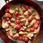 مرغ خامه ای به همراه گوجه فرنگی