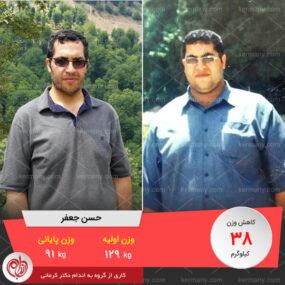 مصاحبه با آقای حسن جعفر، رکورددار رژیم لاغری دکتر کرمانی با 38 کیلو کاهش وزن | وزن اولیه: 129 کیلو؛ وزن نهایی: 91 کیلو