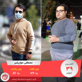 مصاحبه با آقای مصطفی جوانشیر، رکورددار رژیم لاغری دکتر کرمانی با 39 کیلو کاهش وزن | وزن اولیه: 126 کیلو؛ وزن نهایی: 87 کیلو